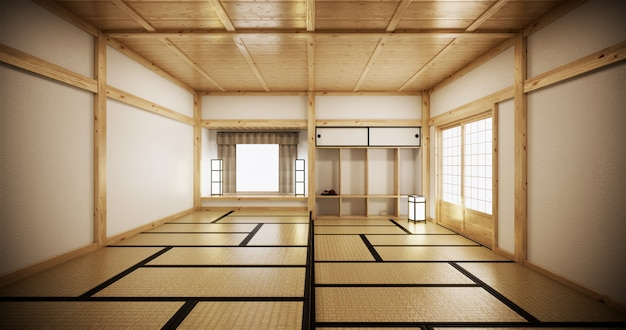 Interior design,modern living room with tatami mat and traditional japanese door on best window view. 3d rendering Premium Photo