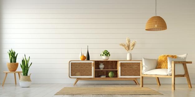 밝은 아파트의 인테리어 디자인, 찬장과 안락 의자가있는 거실 및 기타 장식 요소, 3d 렌더링 프리미엄 사진