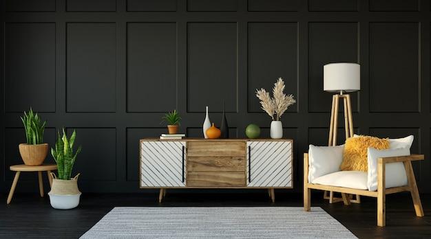 어두운 아파트, 찬장 및 어두운 벽에 안락 의자가있는 거실, 3d 렌더링의 인테리어 디자인 프리미엄 사진