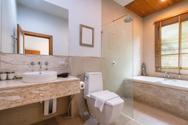 Дизайн интерьера дома, дома, виллы и квартиры с туалетом, зеркалом. Premium Фотографии