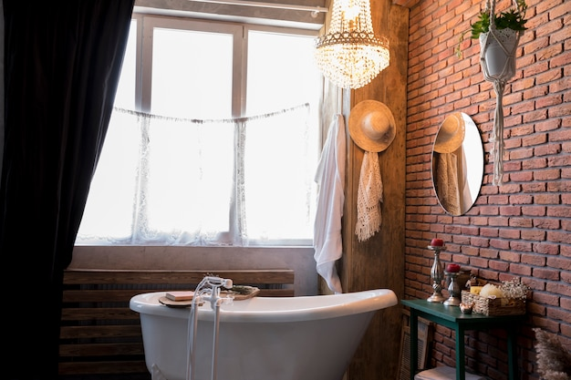 Interior design with vintage bathtub Free Photo