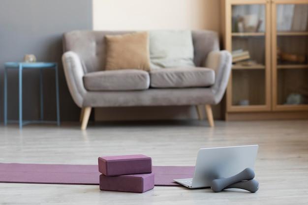 Interior design with yoga mat on the floor Free Photo