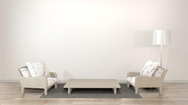 Interior design zen living room with low table, pillow, frame, lamp on wood floor.3d rendering Premium Photo
