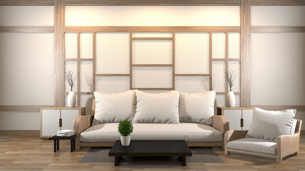 Premium Photo Interior Design Zen Living Room With Low Table Pillow Frame Lamp On Wood Floor