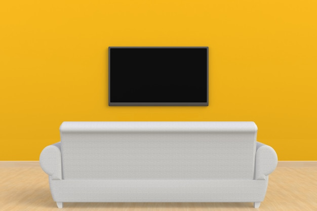 Premium Photo Interior Of Empty Room With Tv And Sofa Living Room Led Tv On Yellow Wall Modern Style