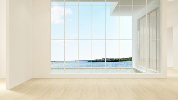 The interior empty wall background in condominium - 3d rendering Premium Photo