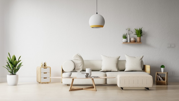 Interior frame living room with colorful white sofa Premium Photo