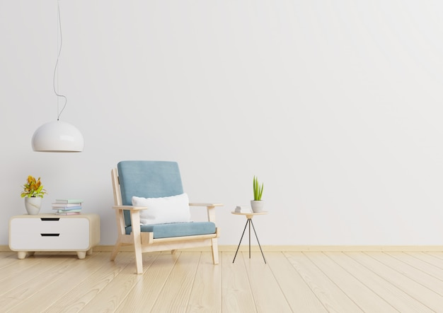 The interior has a armchair on empty white wall background,3d rendering Premium Photo