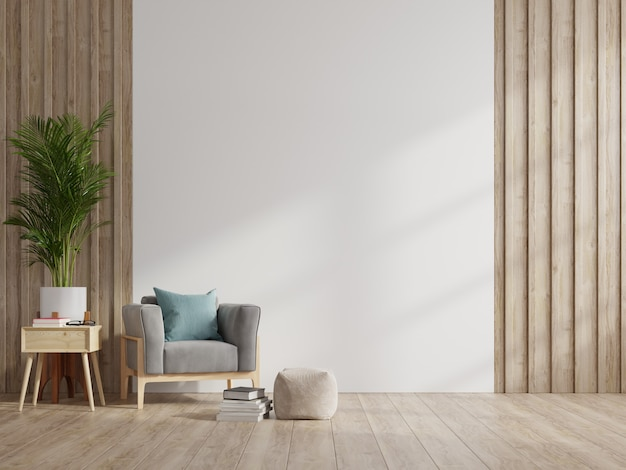 Interior has a armchair on empty white wall background. Premium Photo