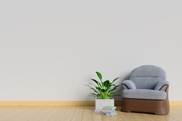 The interior has a sofa and plants on empty white wall background Premium Photo