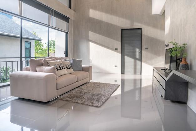 Interior home design in living room in the loft house Premium Photo