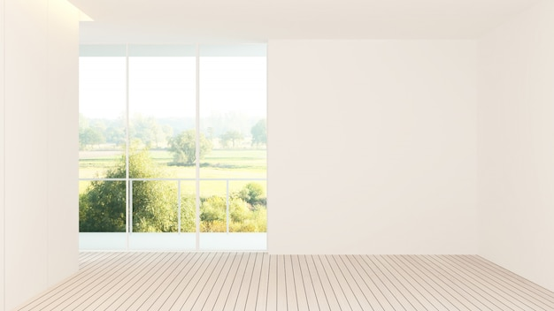 Interior hotel empty space 3d rendering - nature view background Premium Photo