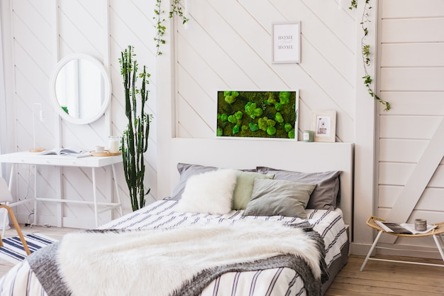 Premium Photo   The interior is bright with a composition of moss,  decoration with natural materials of the house, apartment or office