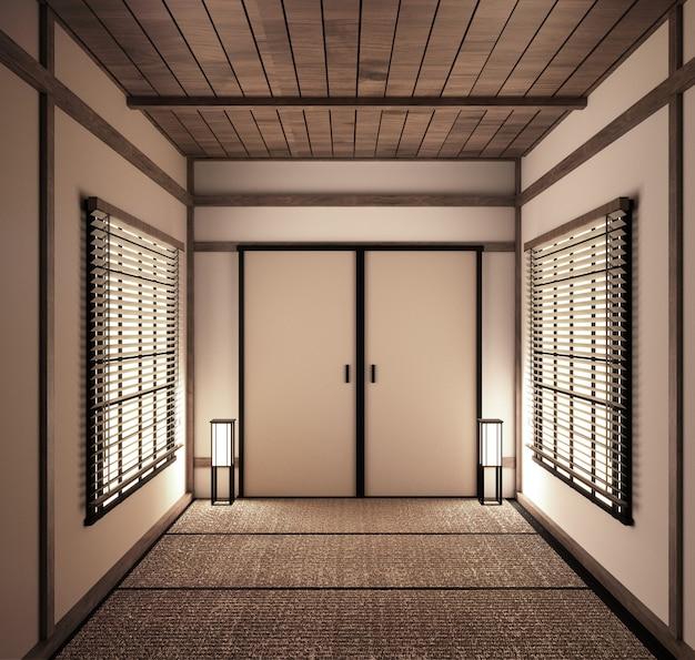 Interior japanese empty room tatami mat designing the most beautiful. 3d rendering Premium Photo