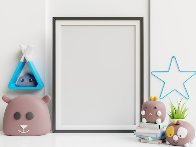 Interior kids room poster and toys in child room. Free Photo
