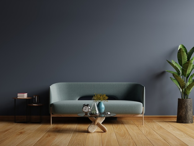 smooth dark wall design for minimalist living room