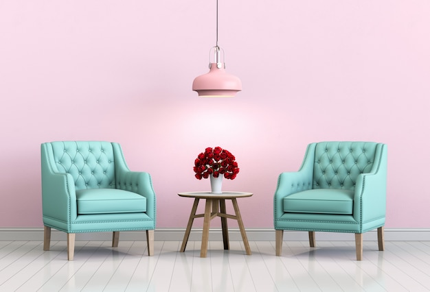Interior living pink room with armchair and rose. Premium Photo