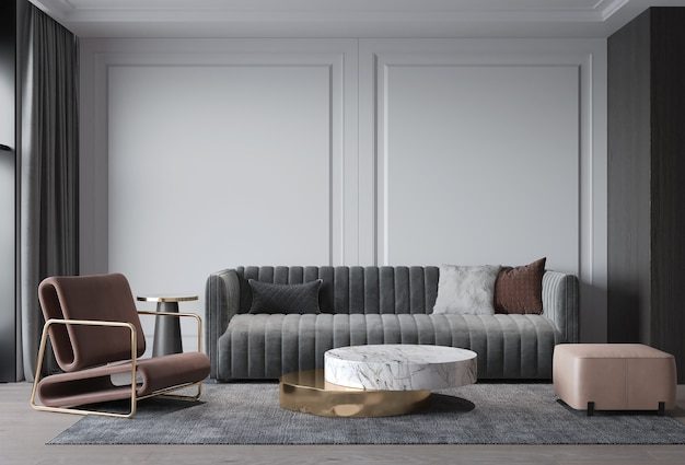 Premium Photo Interior Living Room Modern Classic Style Gray Sofa With Wall Decorate