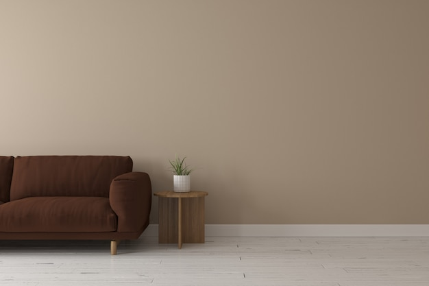 Interior of living room modern style with dark brown fabric sofa,wooden side table and beige wall color Premium Photo