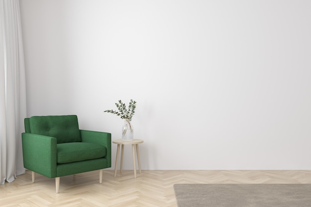 Interior of living room modern style with  fabric armchair, side table and empty white wall on wood floor Premium Photo