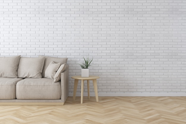 Interior of living room modern style with fabric sofa, side table and white brick wall on wood floor Premium Photo