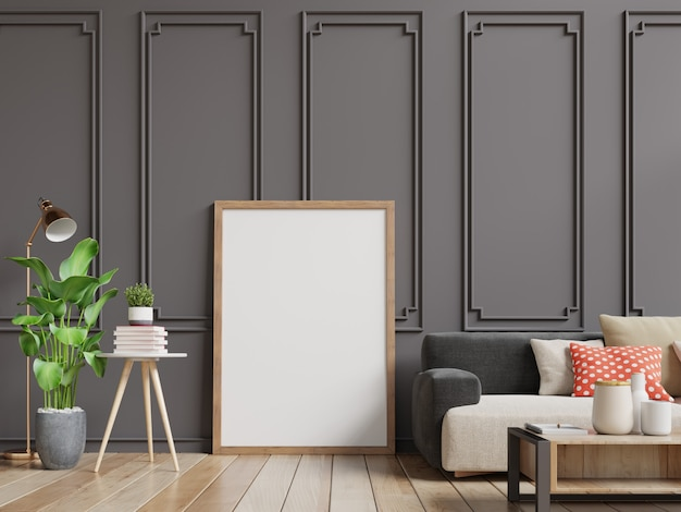 Interior living room with blank photo frame. sofa and tree in room with dark brown wall. Premium Photo