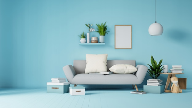 Interior living room with colorful white sofa and armchair in 3d rendering Premium Photo