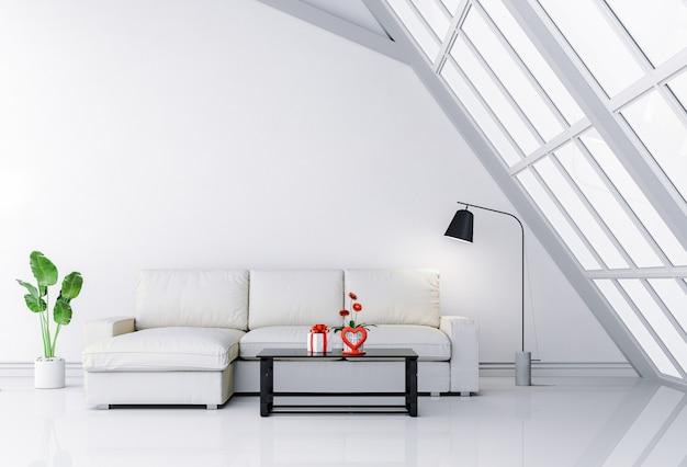Interior living room with sofa and gift valentine. Premium Photo