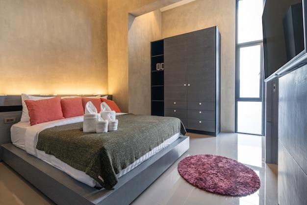 Interior loft design in modern bedroom Premium Photo