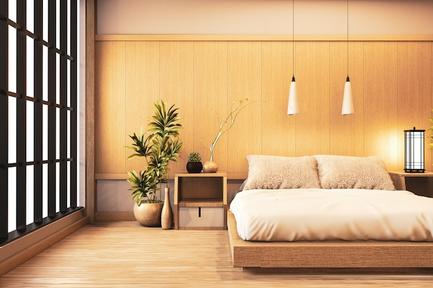 Interior Luxury Modern Japanese Style Bedroom Mock Up Designing The Most Beautiful 3d Rendering Premium Photo