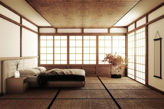 Interior luxury modern japanese style bedroom mock up Premium Photo
