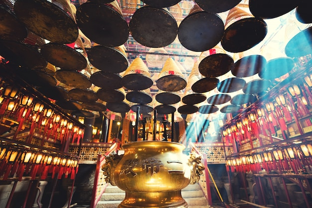 The interior of the man mo temple, hong kong Premium Photo