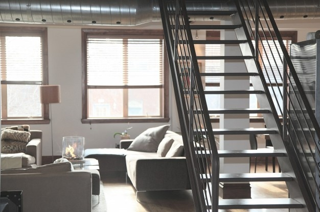 Interior metallic stairs Free Photo