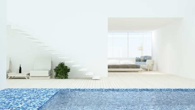 The interior minimal hotel bedroom space swimming pool 3d rendering and nature view Premium Photo