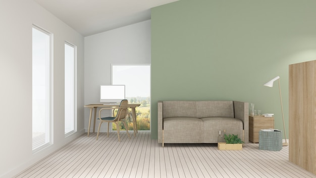 The interior minimal hotel relax space 3d rendering and nature view background Premium Photo