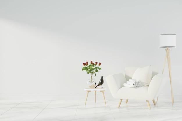 Interior mock up with gray velvet armchair Premium Photo
