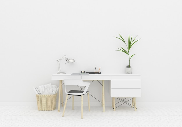 Interior mockup home office room and blank wall Premium Photo