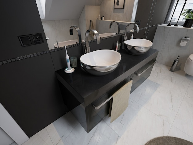 Interior of modern bathroom with sink and toilet Premium Photo
