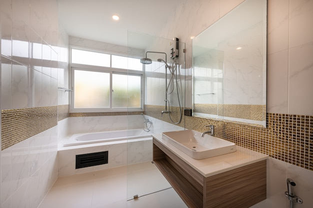 Interior of modern bathtub bathroom and sink interior in a hotel Premium Photo