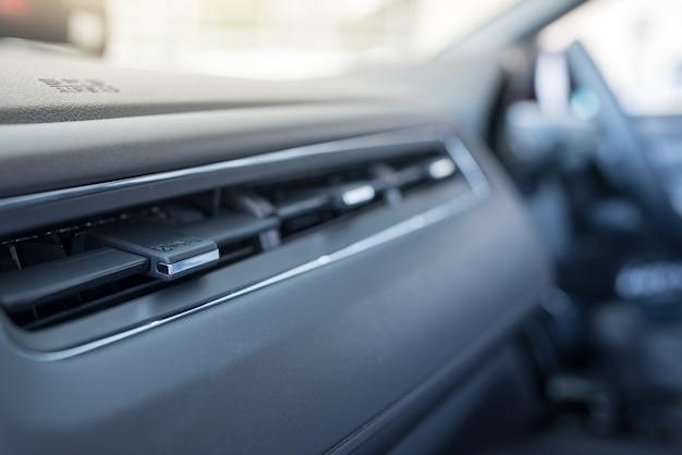 Interior of a modern car, car air conditioner Premium Photo