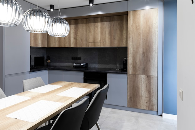 Interior of modern furnished kitchen Free Photo