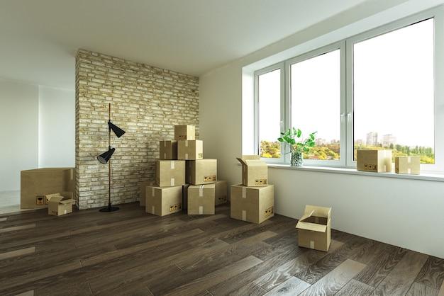 Внутренний переезд с картонными коробками на полу Premium Фотографии