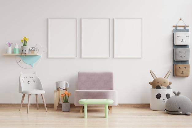 Интерьер детской комнаты, детская комната с пустыми стенами. 3d рендеринг Premium Фотографии
