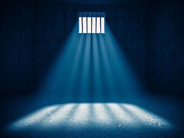 Интерьер тюрьмы, свет из зарешеченного окна. 3d визуализация. понятие лишения свободы. Premium Фотографии