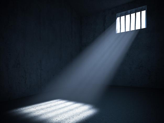 Интерьер тюрьмы со светом из зарешеченного окна. 3d визуализация. понятие лишения свободы. Premium Фотографии