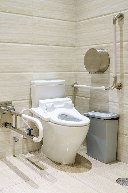 Interior Of Bathroom For The Disabled Or Elderly People. Handrail For  Disabled And Elderly Premium