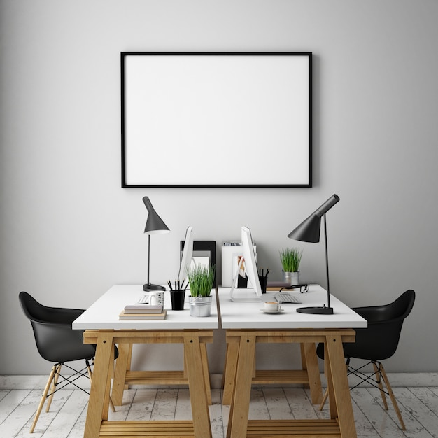 Interior office with furniture, workspace and blank frame Premium Photo
