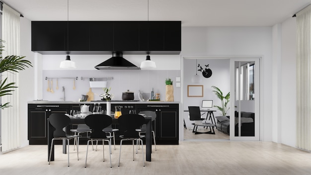 Interior poster living room and kitchen with colorful white sofa Premium Photo