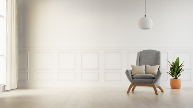 Interior poster mock up living room with colorful white sofa . 3d rendering. Premium Photo