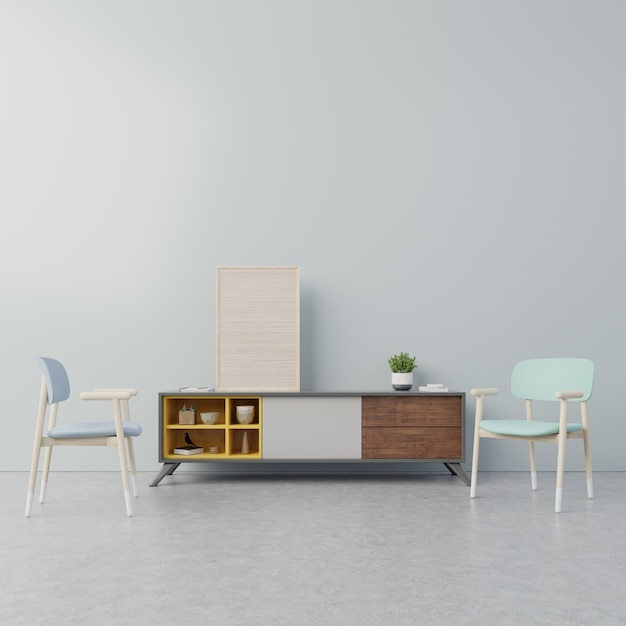 Interior poster mock up with cabinet in living room, armchair and tree with dark blue wall. Premium Photo